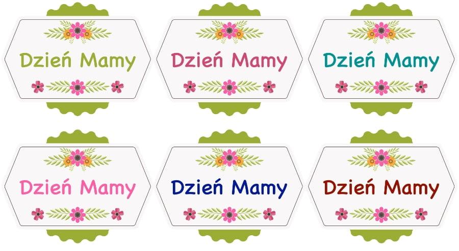 Odznaki na Dzień Mamy z kwiatami (6 szablonów)