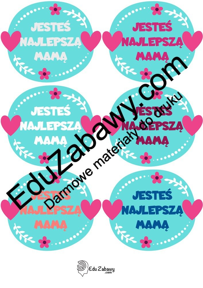 Odznaki na Dzień Mamy z serduszkami (4 szablony) Dzień Mamy Odznaki (Dzień Rodziny) Odznaki na Dzień Mamy