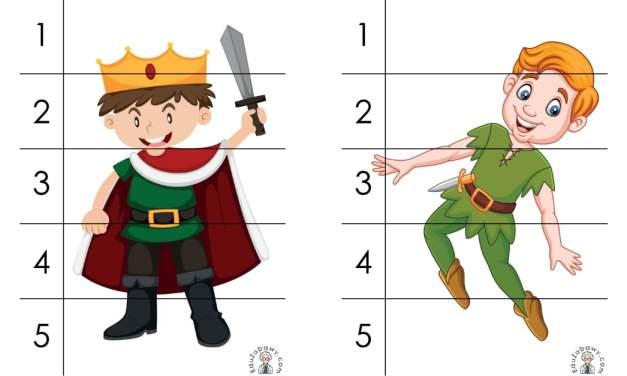 Dzień postaci z bajek: Puzzle 5 elementów (10 kart pracy)