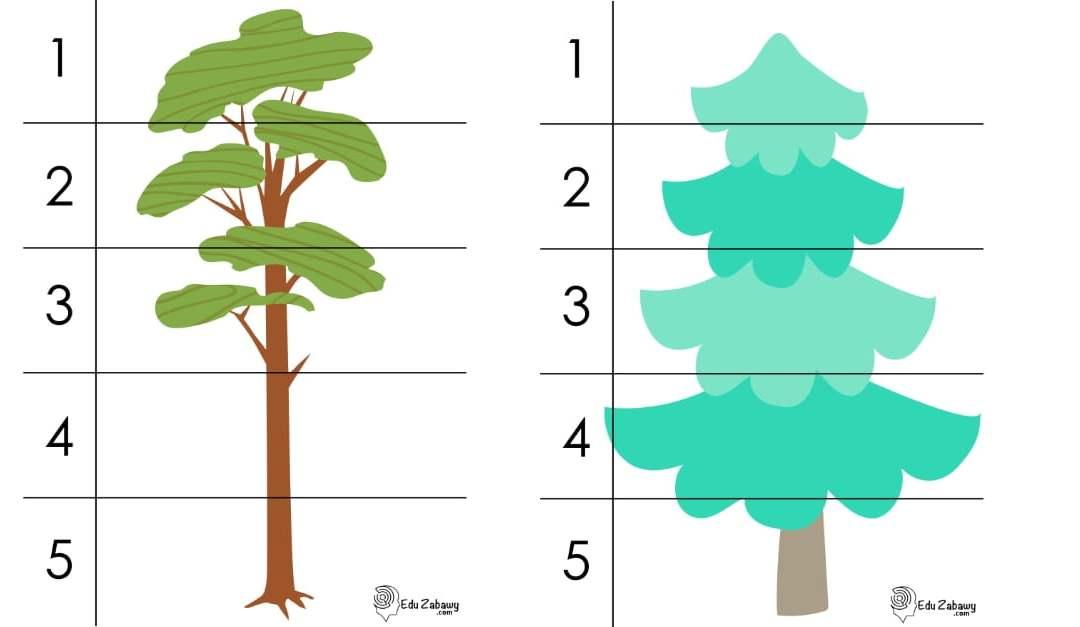 Dzień Drzewa: Puzzle 5 elementów (10 kart pracy)