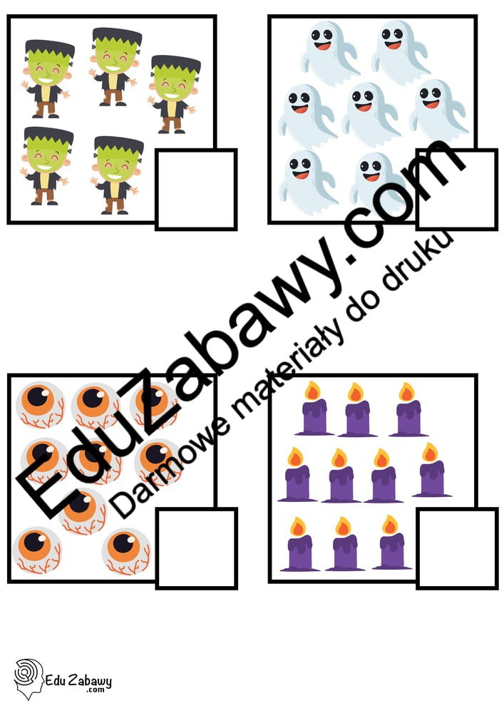 Halloween: Policz obrazki (10 kart pracy) Karty pracy Karty pracy (Halloween / Święto dyni) Policz obrazki Święto Dyni / Halloween