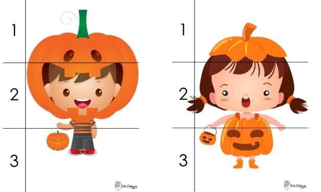 Halloween: Puzzle 3 elementy (10 kart pracy)