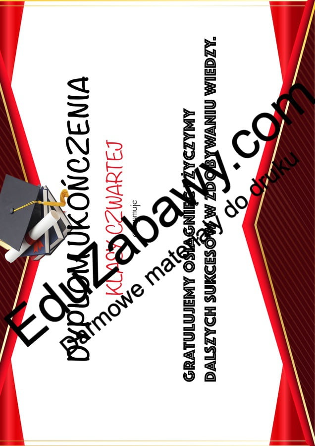 Dyplom ukończenia klasy 4 Dyplomy Dyplomy (Zakończenie roku) Okolicznościowe