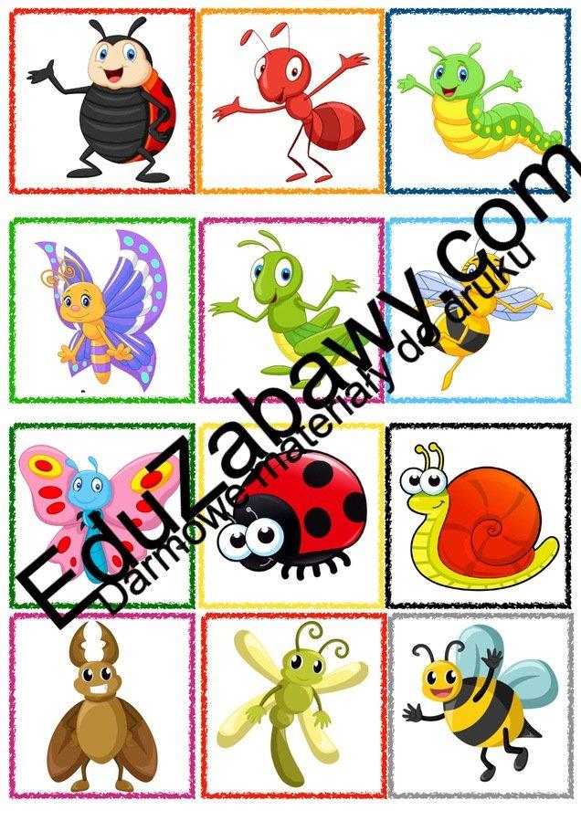 Znaczki przedszkolne - Owady Kalendarz świąt Powitanie przedszkola Wrzesień Znaczki na szafki / etykiety (Powitanie przedszkola)