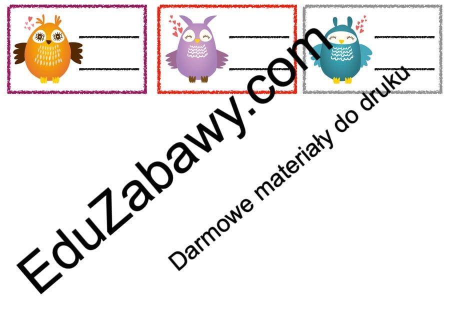 Znaczki przedszkolne – Sówki Kalendarz świąt Powitanie przedszkola Wrzesień Znaczki na szafki / etykiety (Powitanie przedszkola)