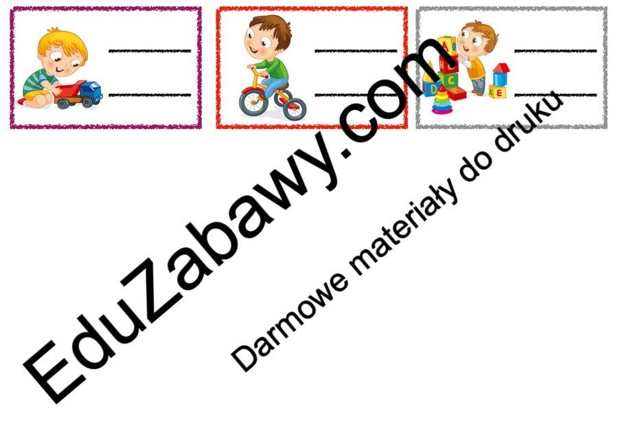 Znaczki przedszkolne – Zabawki Kalendarz świąt Powitanie przedszkola Wrzesień Znaczki na szafki / etykiety