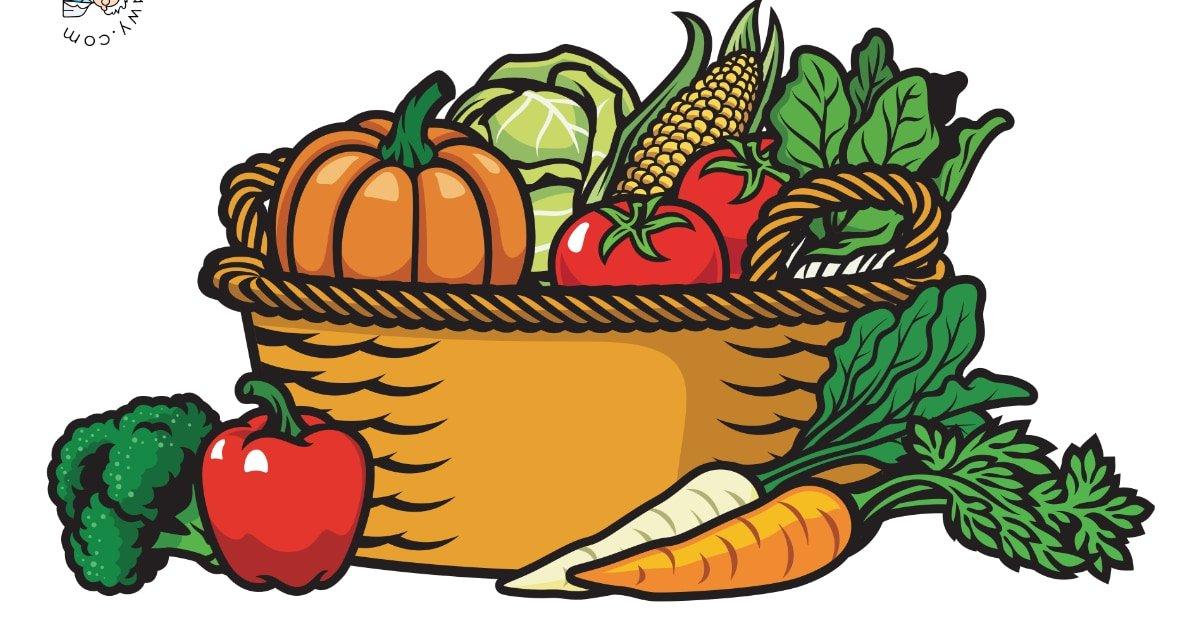 Dekoracje: Koszyk z owocami i warzywami (7 szablonów)