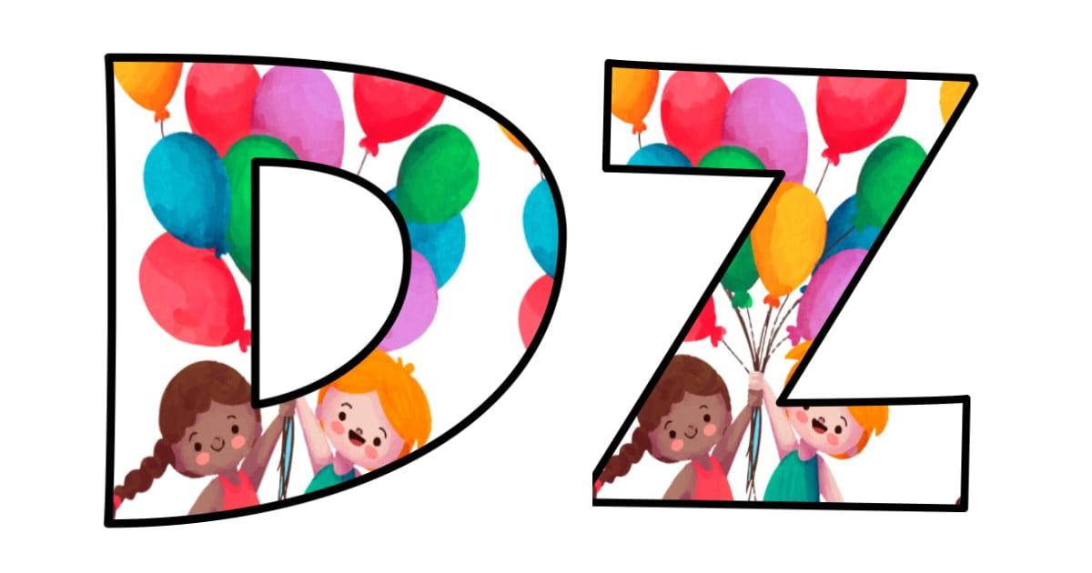 Napis Dzień Przedszkolaka: wzór w balony