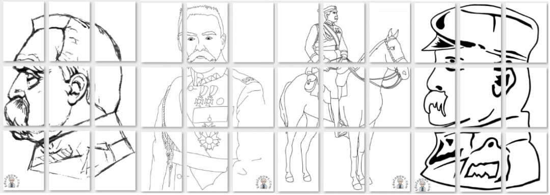 Kolorowanki: Józef Piłsudski A4 i XXL Dekoracje Dekoracje (Święto Niepodległości) Kolorowanki (3 maja) Kolorowanki (Święto Niepodległości) Święto Niepodległości