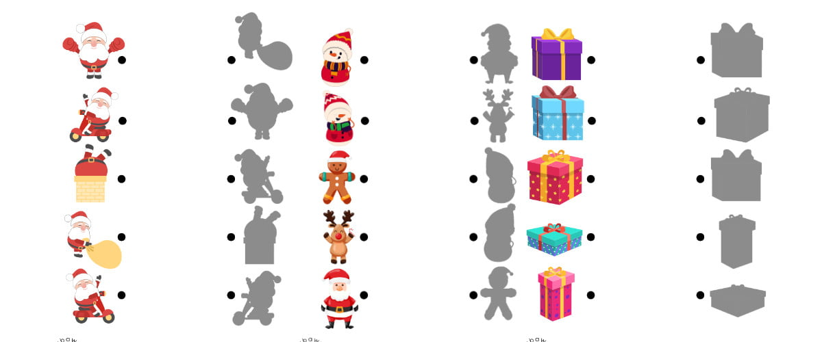 Boże Narodzenie: Dopasuj cienie (10 kart pracy)