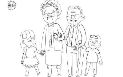 Kolorowanki: Babcia i dziadek (9 szablonów)