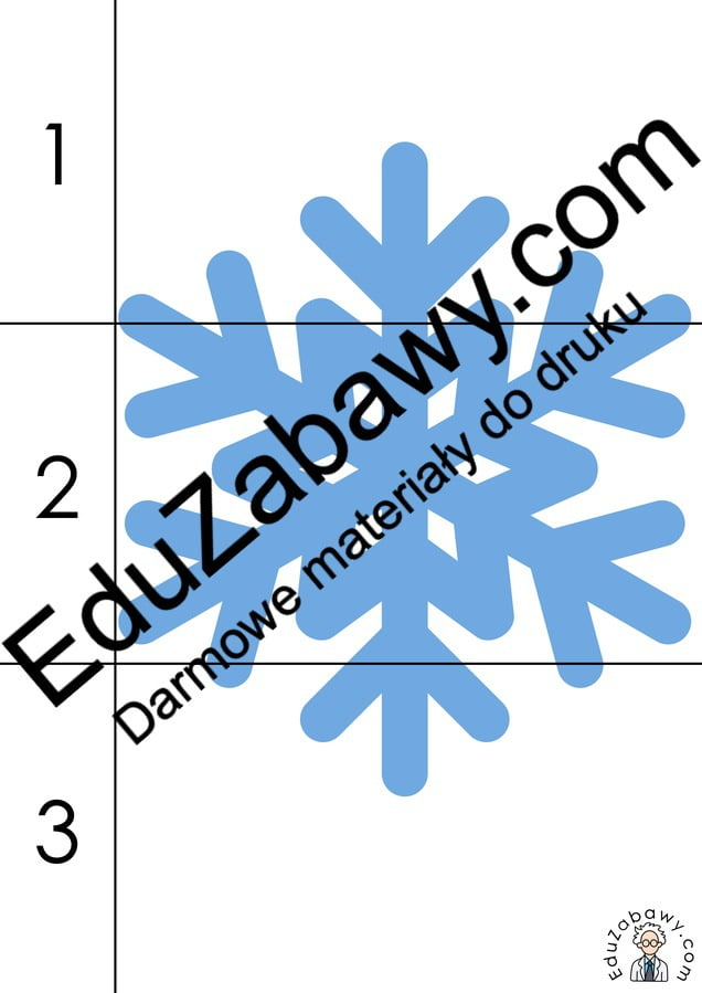 Zima: Puzzle 3 elementy (10 kart pracy) Karty pracy Karty pracy (Zima) Puzzle Zima