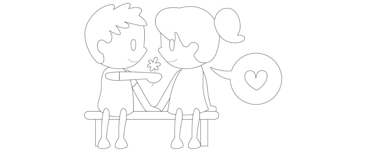 Kolorowanki: Zakochana para (10 szablonów)
