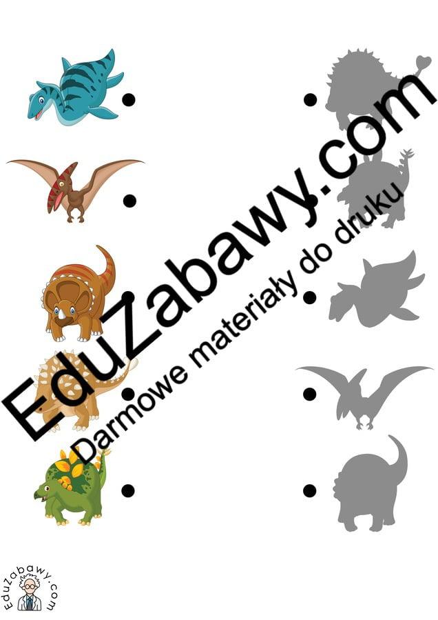 Dzień Dinozaura: Dopasuj Cienie (10 kart pracy) Dopasuj cienie Dzień Dinozaura Karty pracy Karty pracy (Dzień Dinozaura)