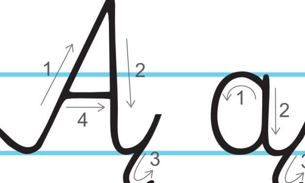 Plansza edukacyjna: litera Ą z kierunkiem pisania