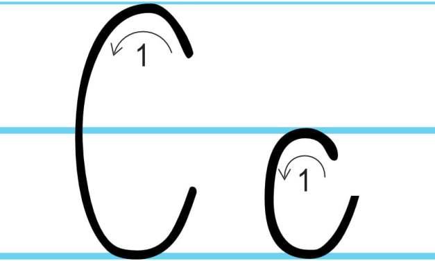 Plansza edukacyjna: litera C z kierunkiem pisania