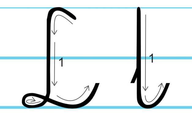 Plansza edukacyjna: litera L z kierunkiem pisania