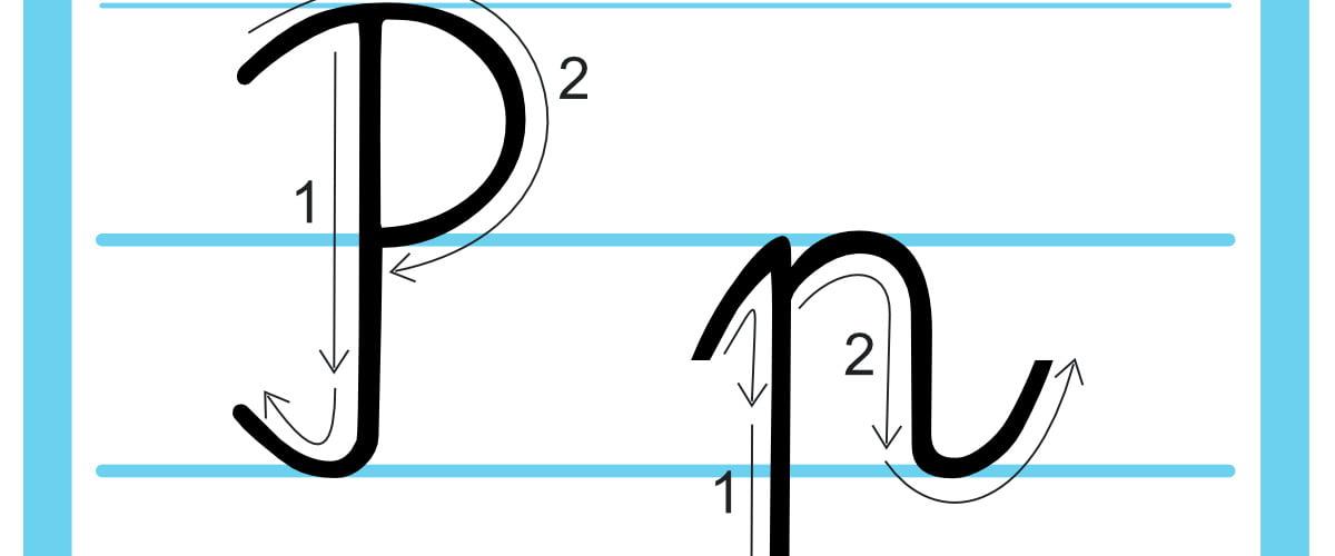 Plansza edukacyjna: litera P z kierunkiem pisania