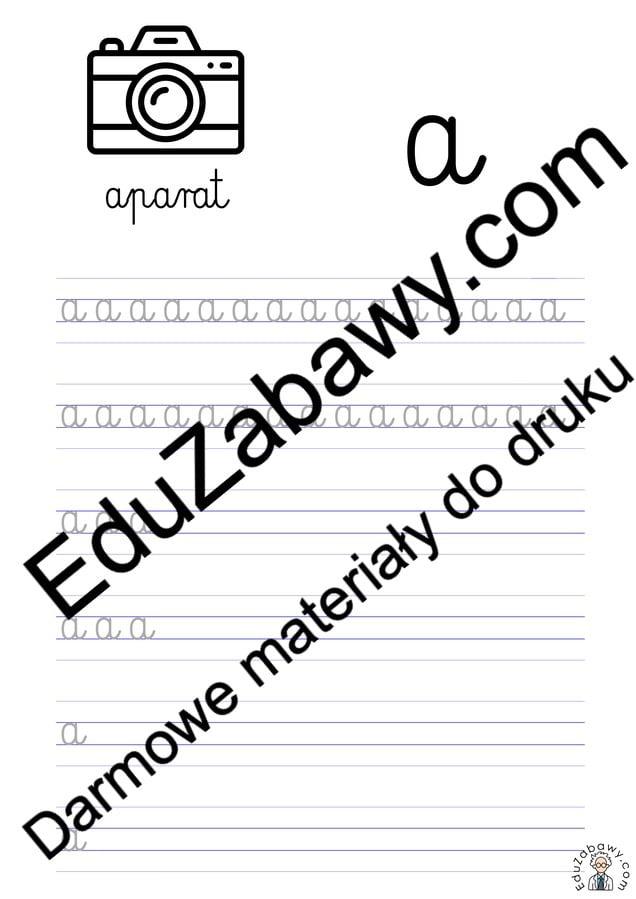 Pisanie po śladzie w liniaturze: Litera A (3 karty pracy) Alfabet (Nauka pisania) Nauka pisania Nauka pisania litery A