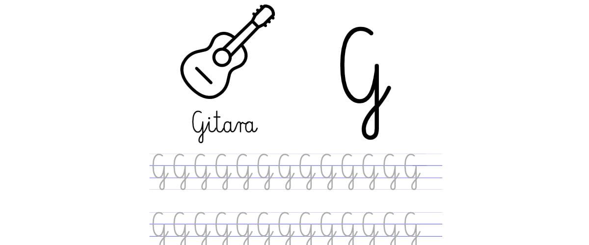 Pisanie po śladzie w liniaturze: Litera G (3 karty pracy)