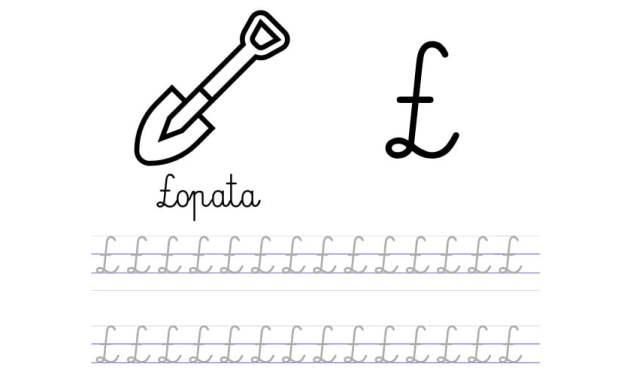 Pisanie po śladzie w liniaturze: Litera Ł (3 karty pracy)