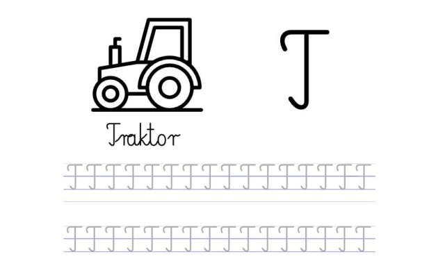 Pisanie po śladzie w liniaturze: Litera T (3 karty pracy)