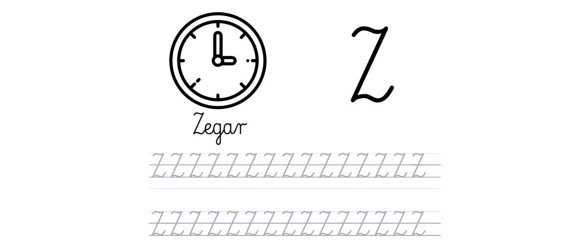 Pisanie po śladzie w liniaturze: Litera Z (3 karty pracy)