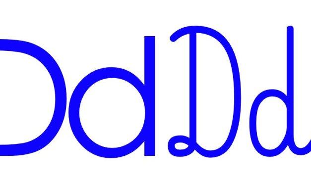 Niebieska spółgłoska D do alfabetu szorstkiego