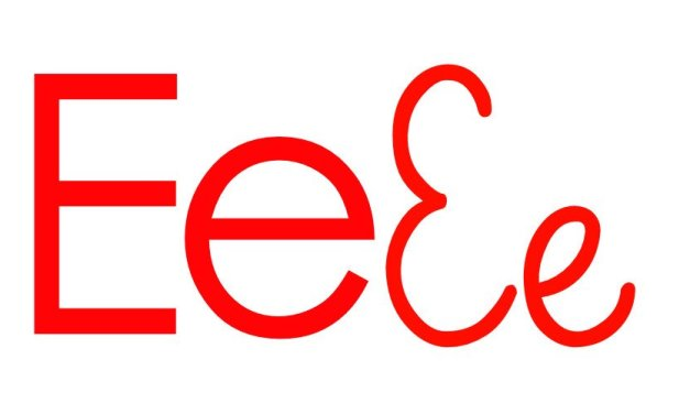Czerwona samogłoska E do alfabetu szorstkiego