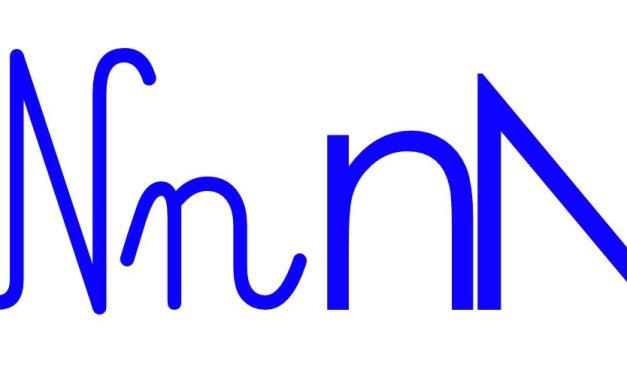 Niebieska spółgłoska N do alfabetu szorstkiego
