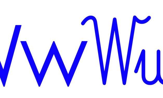 Niebieska spółgłoska W do alfabetu szorstkiego