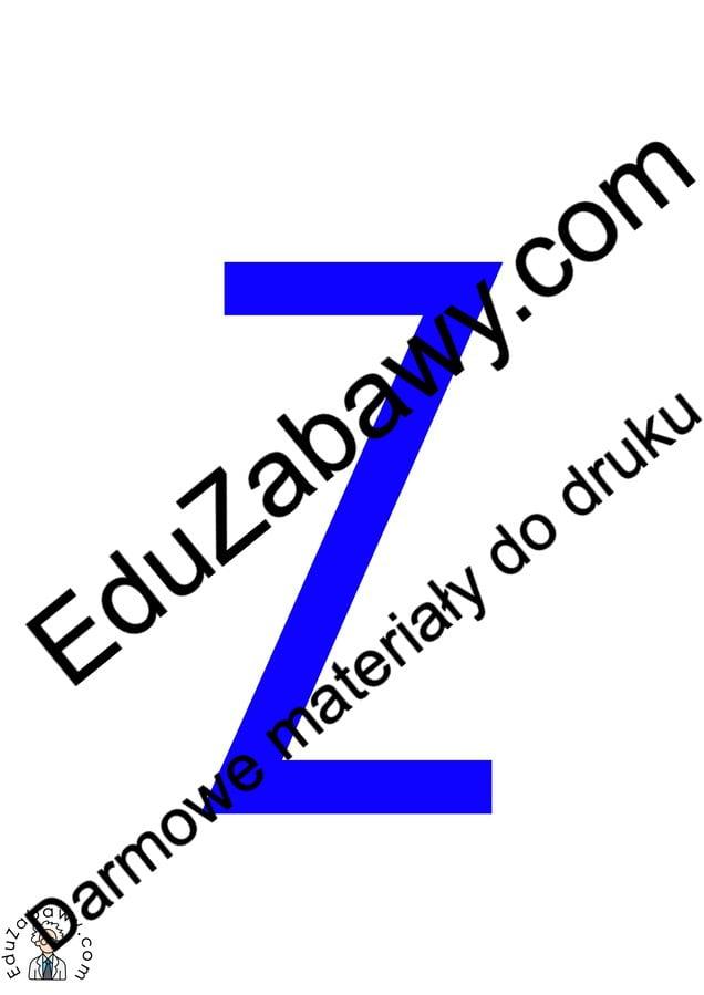 Niebieska spółgłoska Z do alfabetu szorstkiego Alfabet (Nauka pisania) Nauka pisania Nauka pisania litery Z