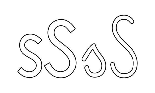 Kontury litery S pisane i drukowane (4 szablony)