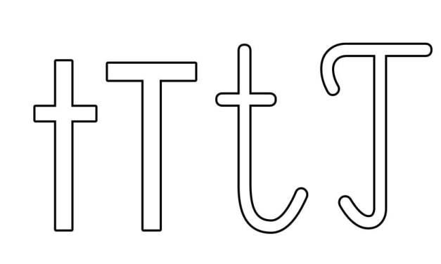 Kontury litery T pisane i drukowane (4 szablony)