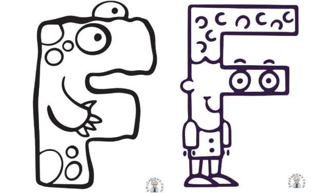 Nauka pisania litery F, karty pracy dla przedszkolaków, uczniów do druku