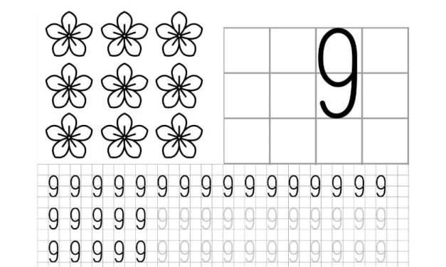 Nauka pisania cyfry 9 po śladzie