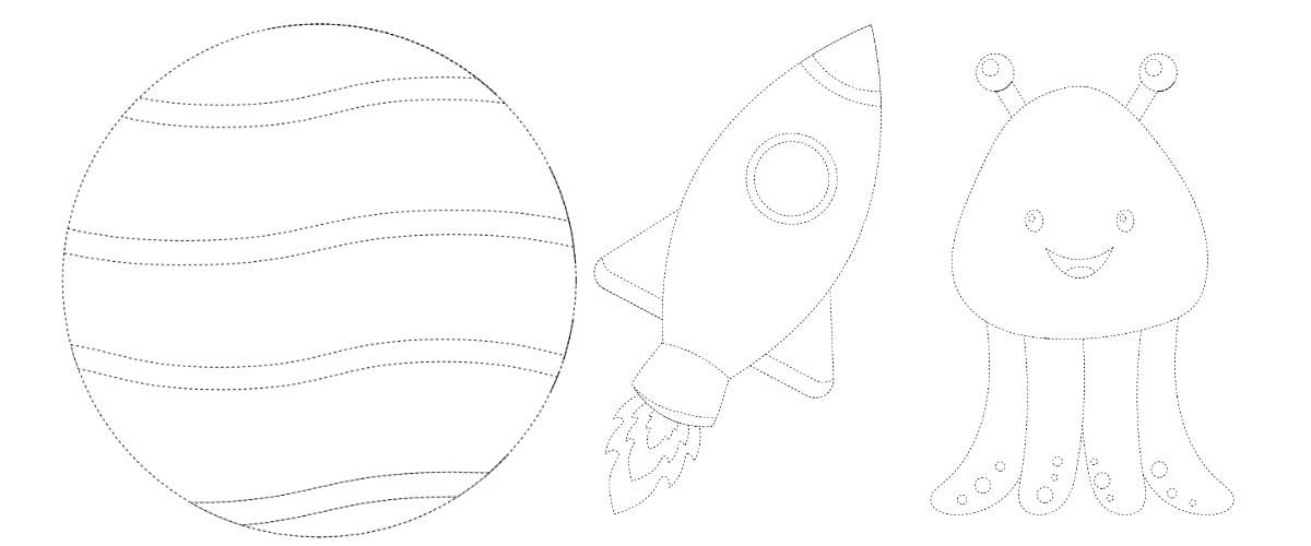 Kosmos: Grafomotoryka (10 kart pracy)