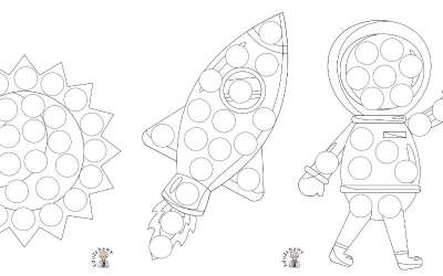 Kosmos: Wyklejanki (10 kart pracy)
