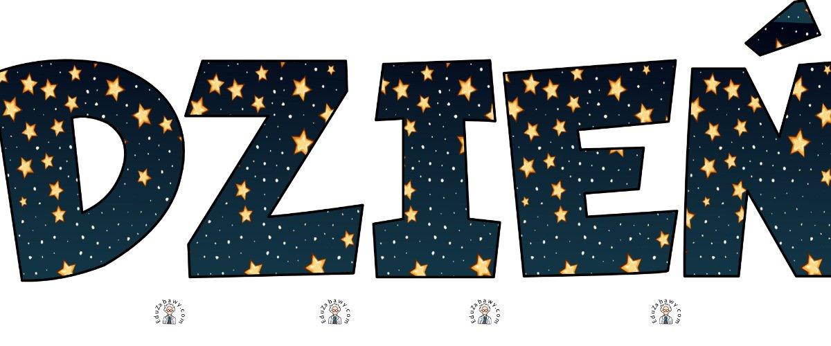Napis Dzień Kosmosu – Gwiazdy