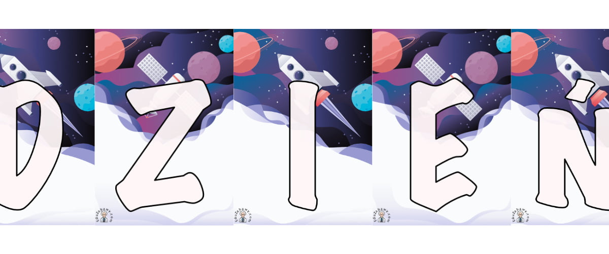 Napis Dzień Kosmosu – Kosmos