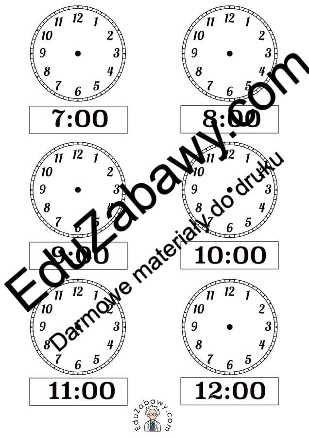 Nauka zegara - dorysuj wskazówki - wersja czarno biała Dzień Matematyki Matematyka Nauka zegara