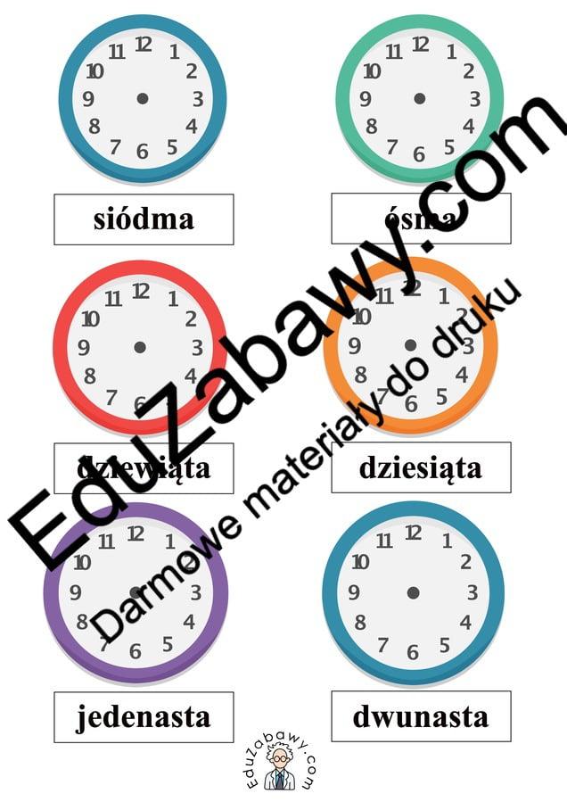 Nauka zegara - dorysuj wskazówki wg instrukcji pisanych Dzień Matematyki Matematyka Nauka zegara