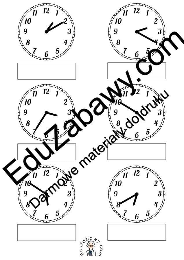 Pod każdym z zegarów zapisz godzinę, którą wskazuje Dzień Matematyki Matematyka Nauka zegara