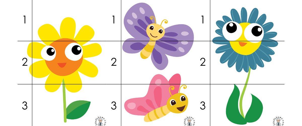 Wiosna: Puzzle 3 elementy (10 kart pracy)