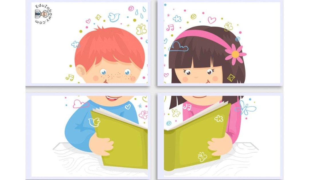 Dekoracje XXL: Dzieci z książką (10 szablonów)