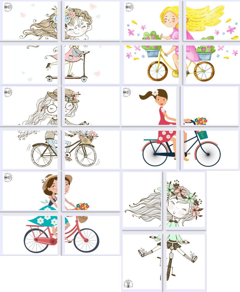 Dekoracje XXL: Pani Wiosna na rowerze (7 szablonów) Dekoracje Dekoracje (Dzień Kobiet) Dekoracje (Wiosna) Wiosna