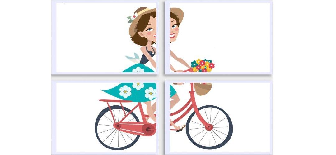 Dekoracje XXL: Pani Wiosna na rowerze (7 szablonów)