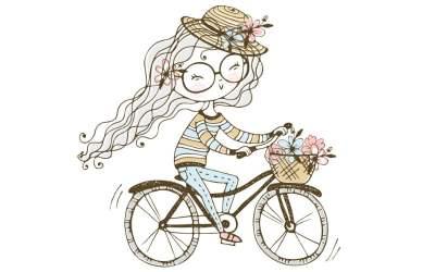Dekoracje: Pani Wiosna na rowerze (7 szablonów)
