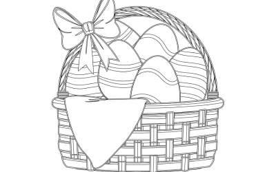 Kolorowanki: Koszyk wielkanocny (8 szablonów)