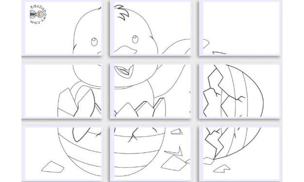 Kolorowanki XXL: Kurczaczek wielkanocny (10 szablonów)